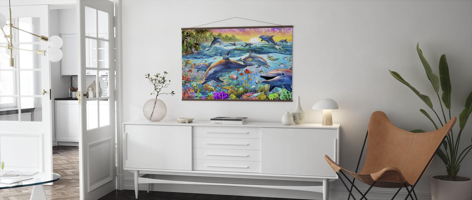 Tropiska delfiner - Poster - Vardagsrum