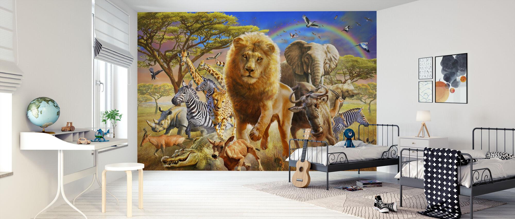 Afrikaans Stampede - Behang - Kinderkamer
