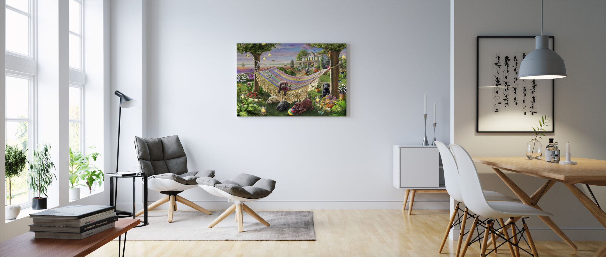 Puppies And Butterflies - Canvas print - Living Room