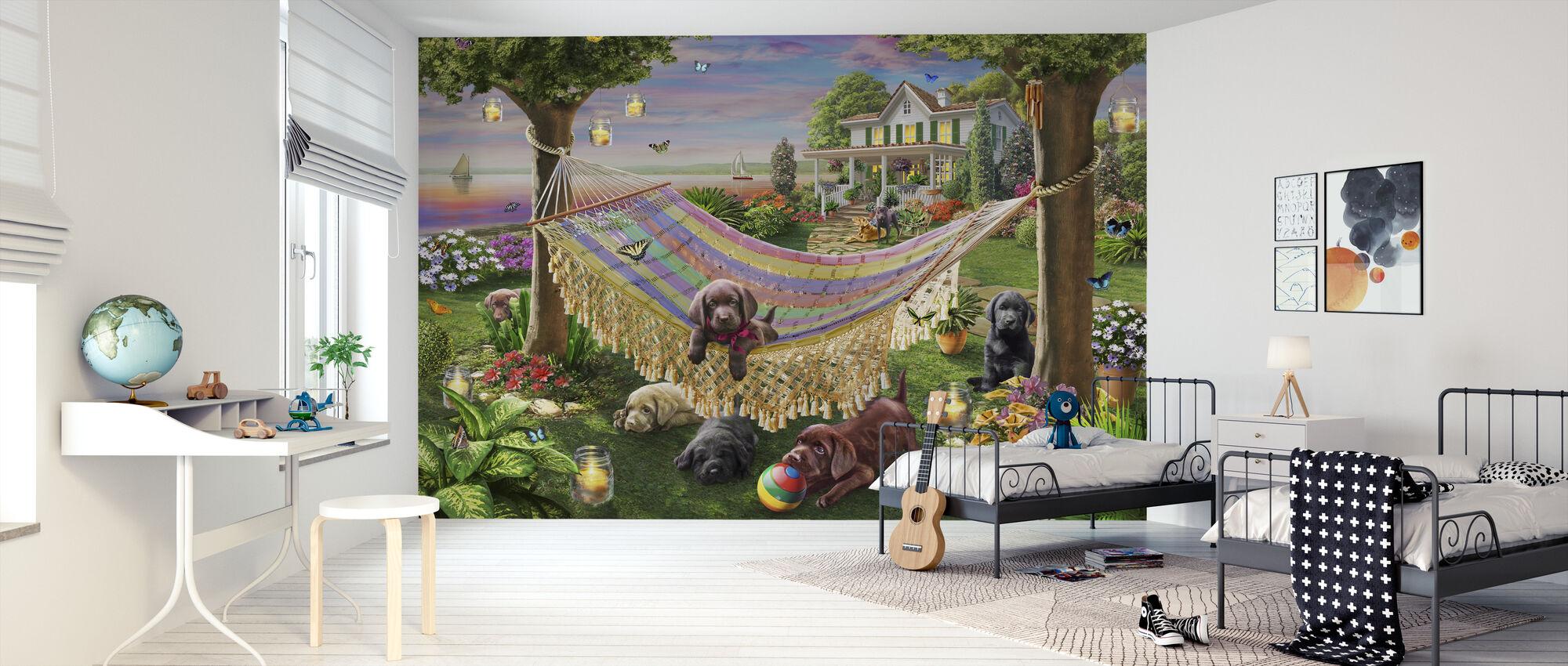 Puppies And Butterflies - Wallpaper - Kids Room