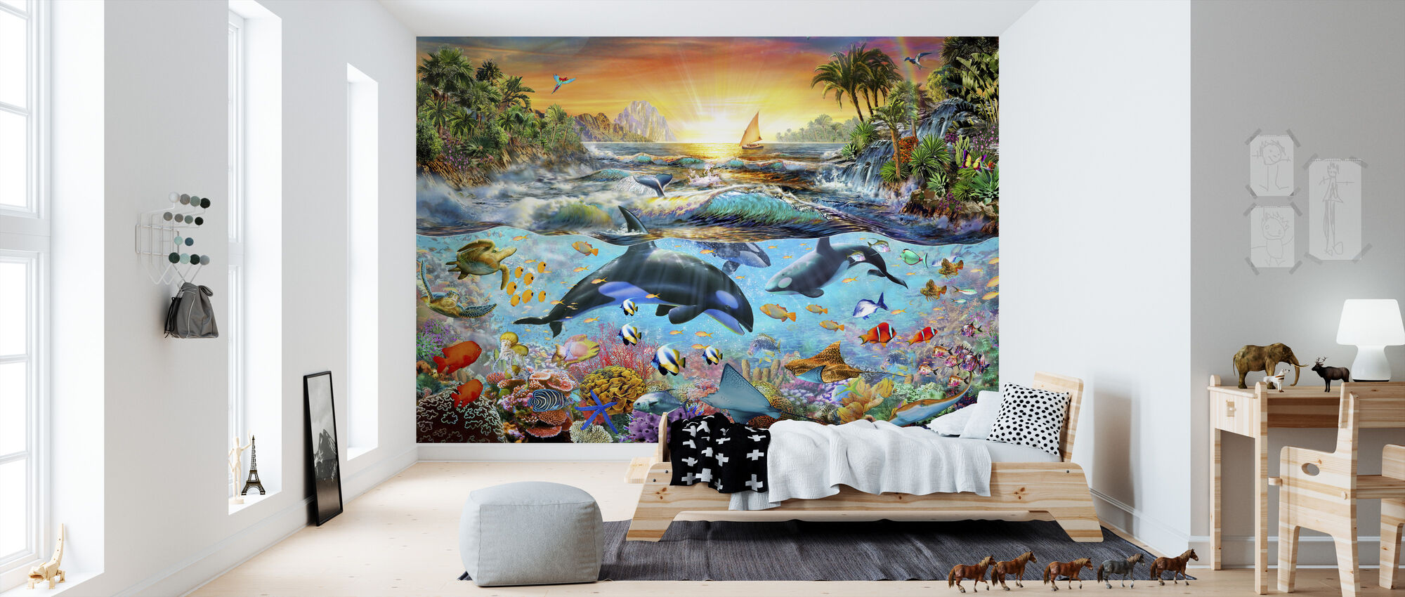 Orca Paradijs - Behang - Kinderkamer