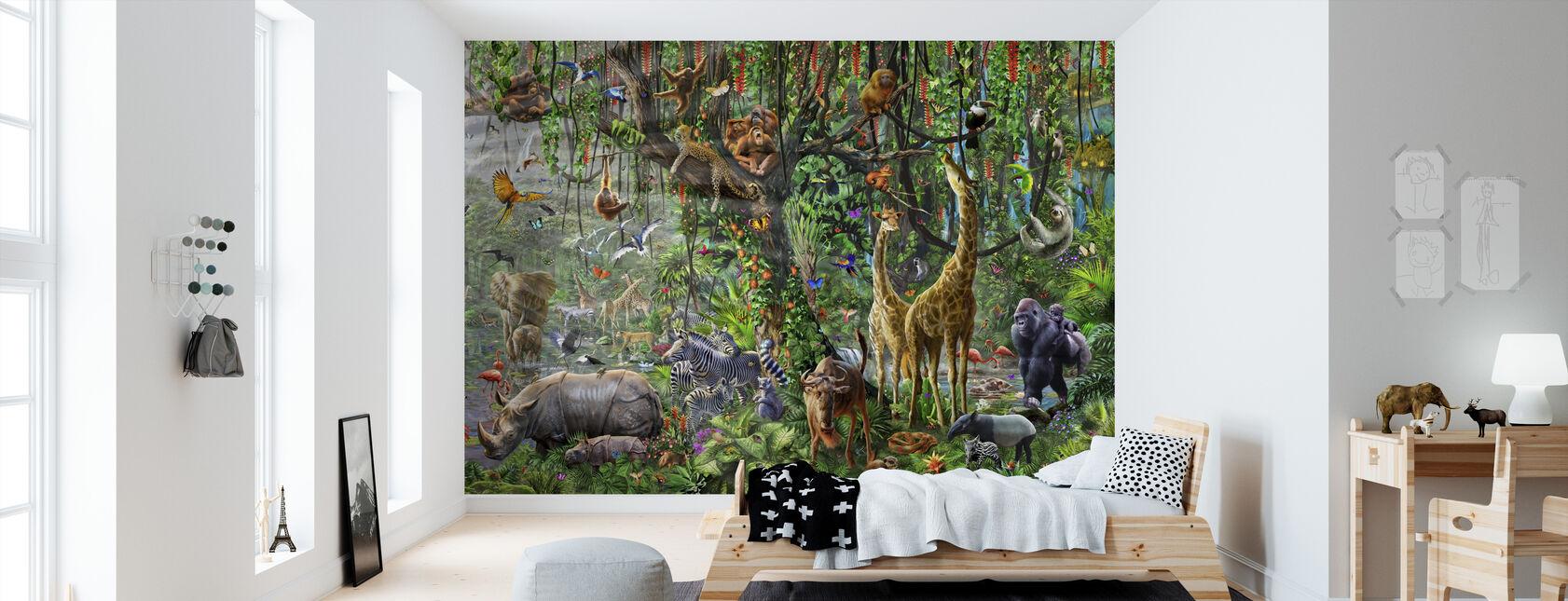 Afrikansk väggmålning Panorama - Tapet - Barnrum