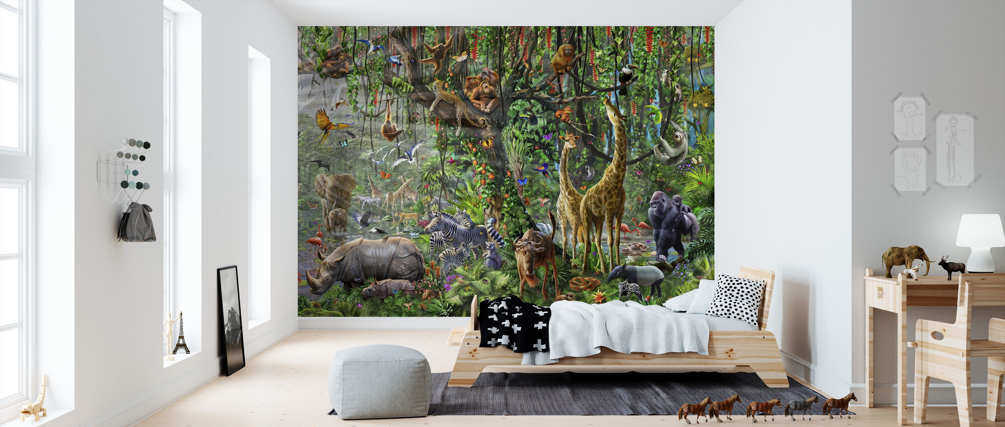 African Mural Panorama - Wallpaper - Kids Room