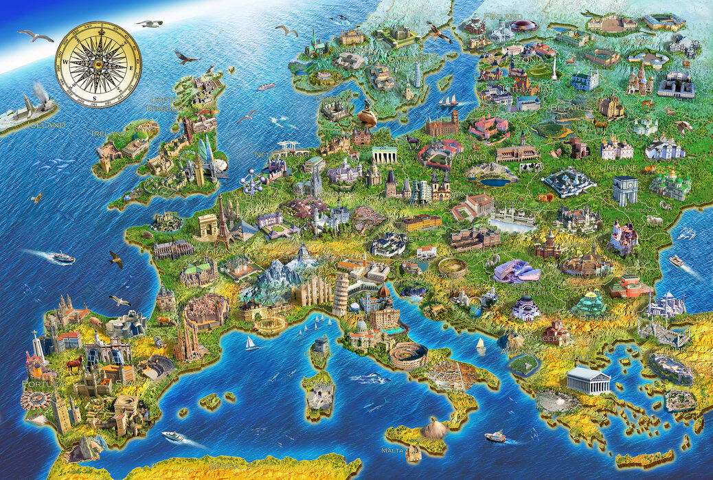 Europese oriëntatiepunten - Canvas print