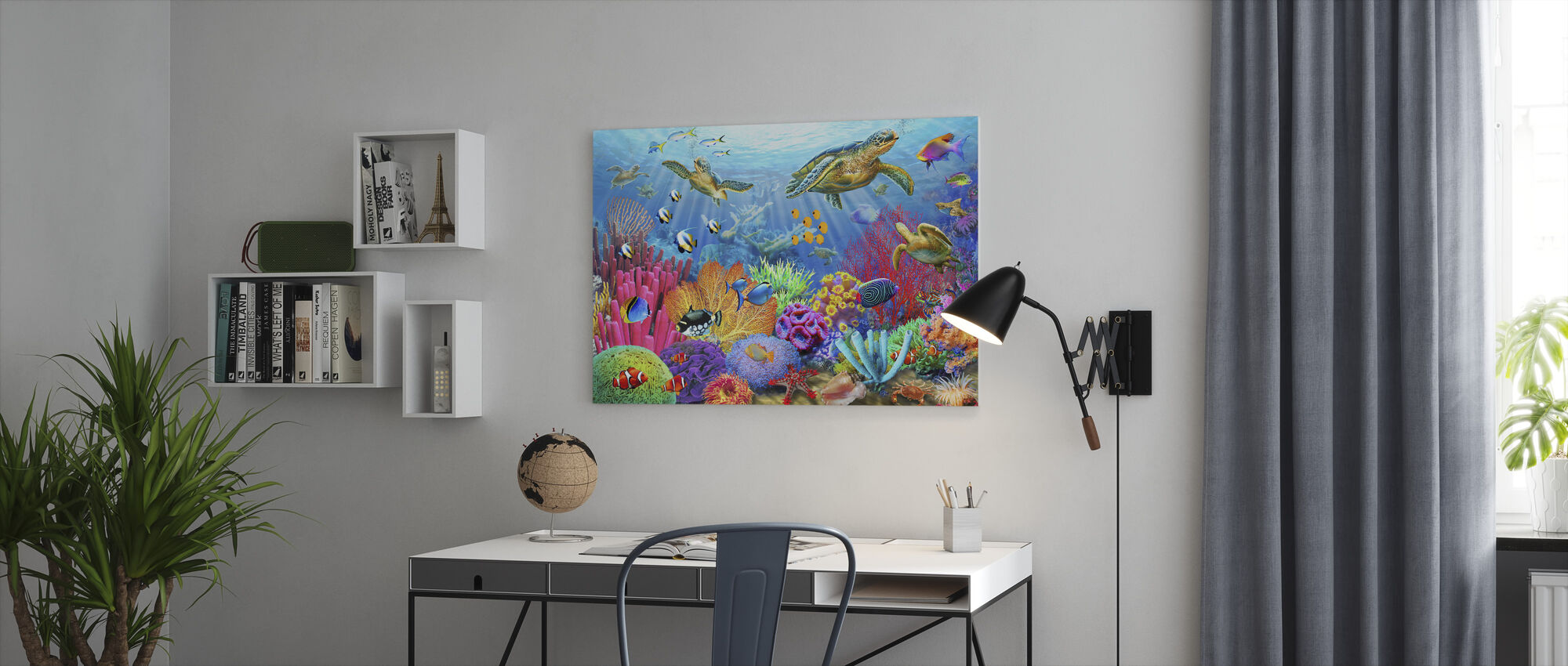 Turtle Coral Reef - Canvas print - Office