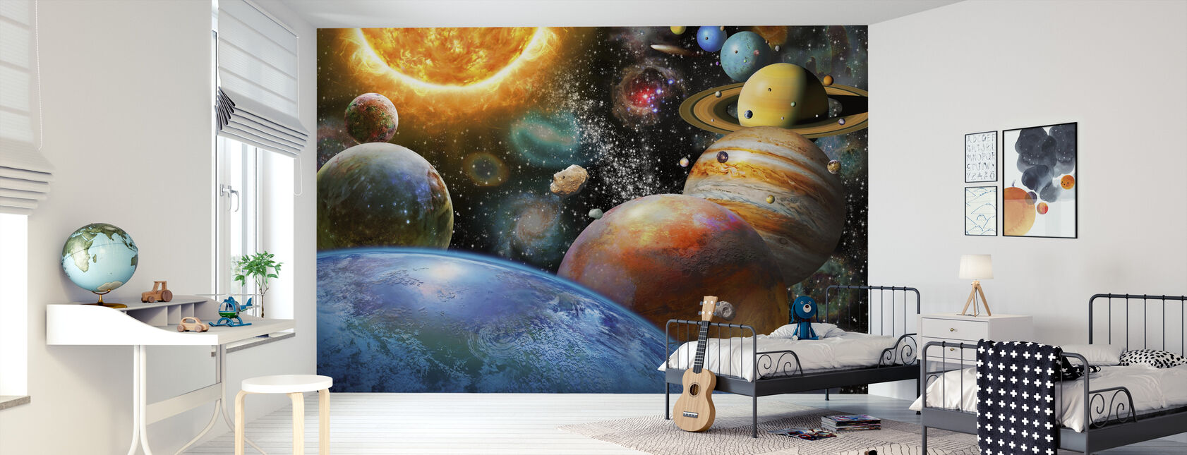 Planets and Their Moons - Wallpaper - Kids Room