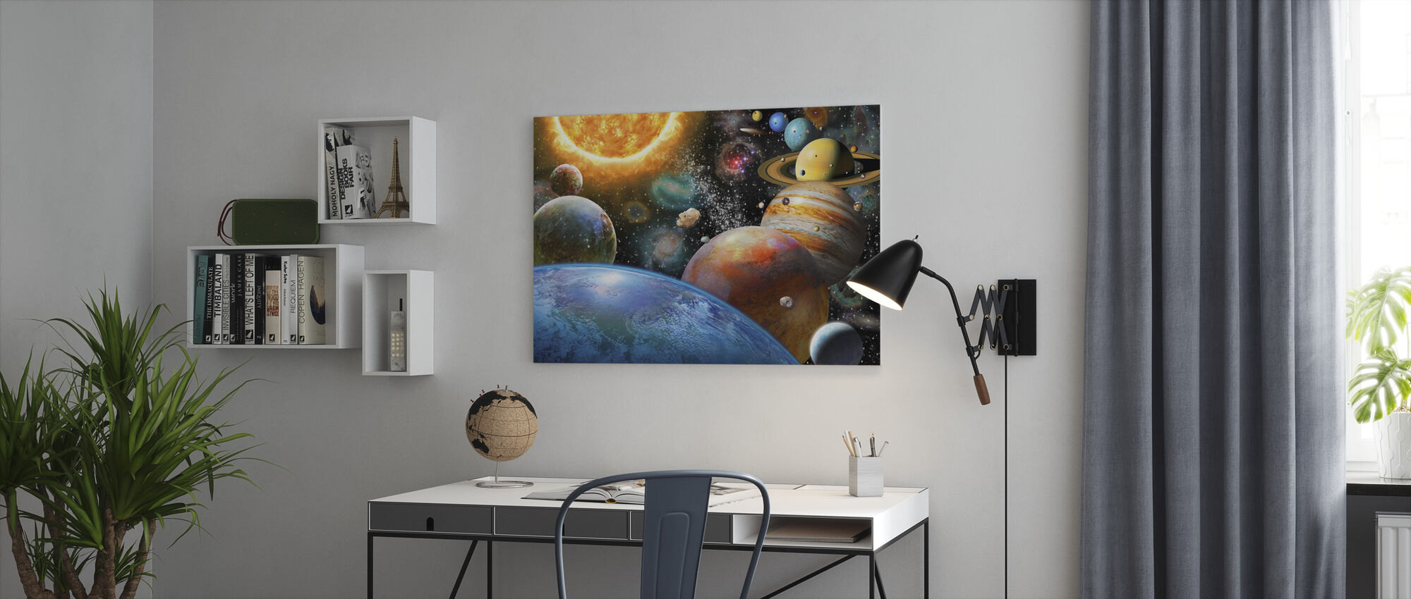Planets and Their Moons - Canvas print - Office