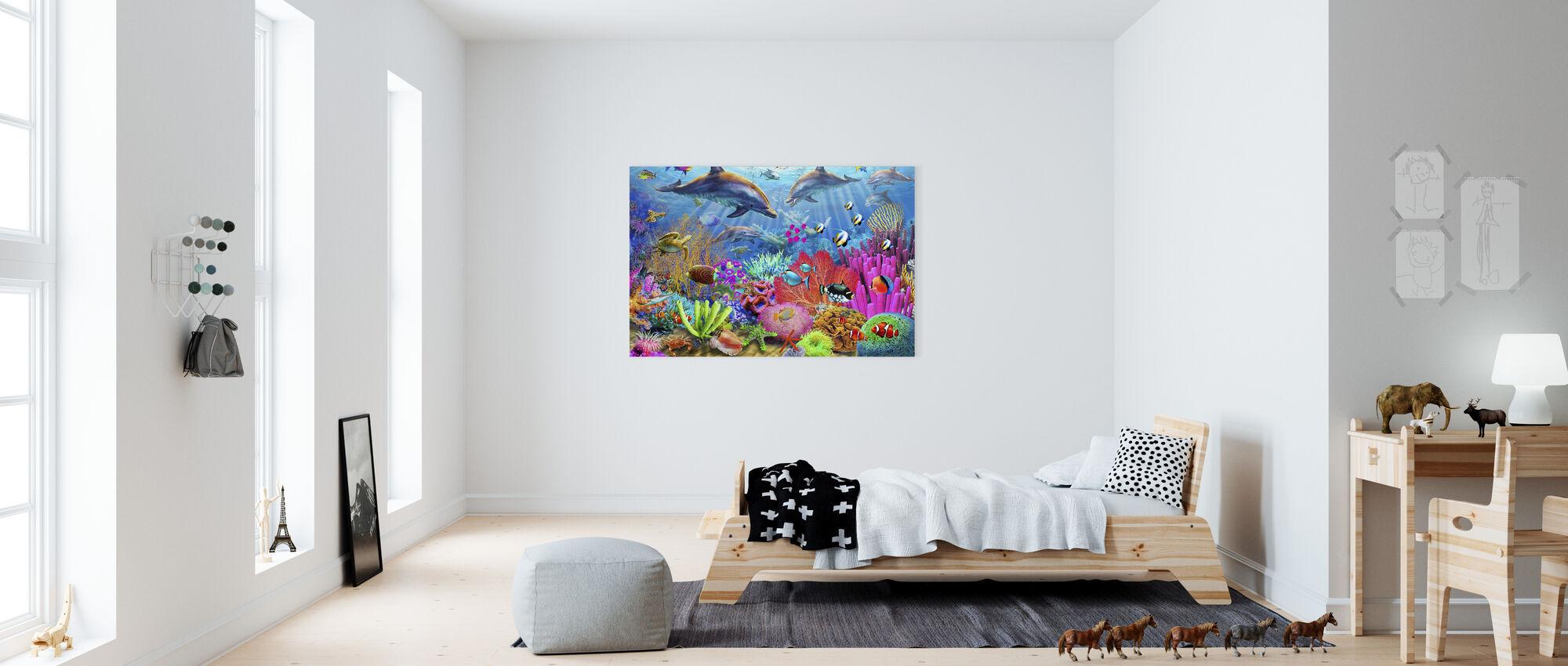 Delfin Korallrev - Canvastavla - Barnrum