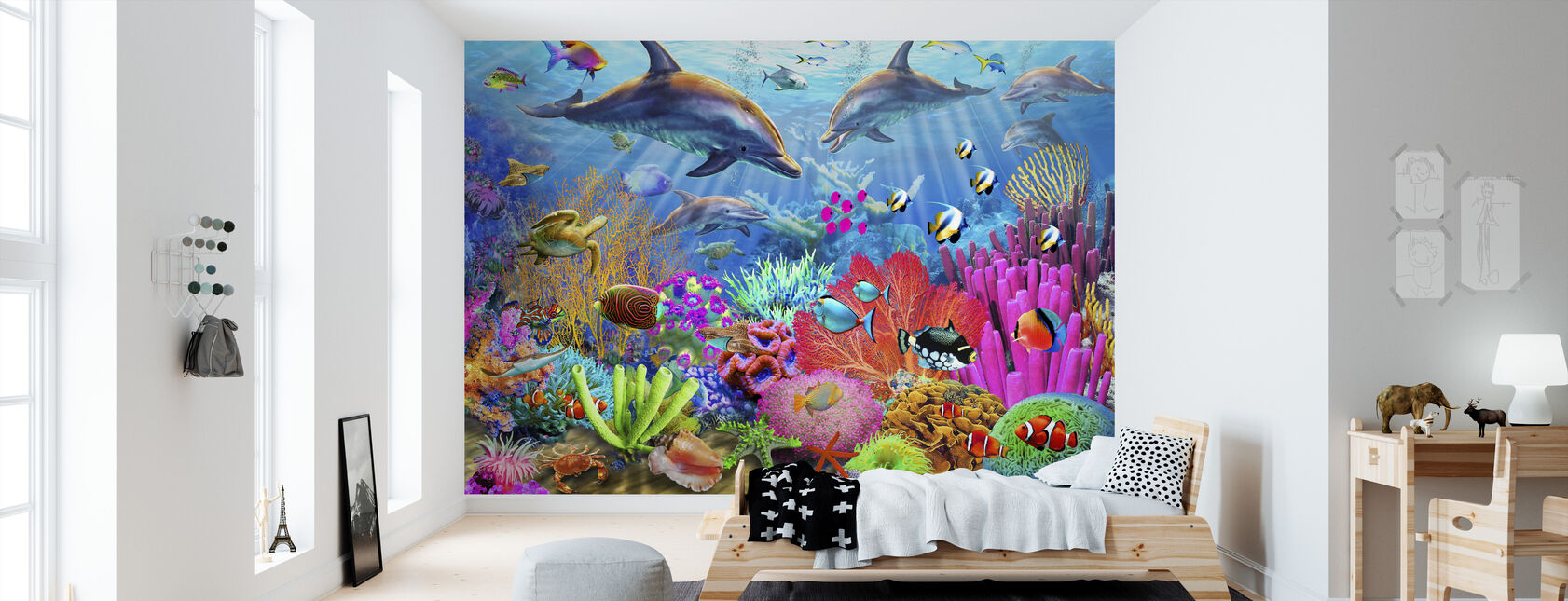 Dolphin Coral Reef - Wallpaper - Kids Room