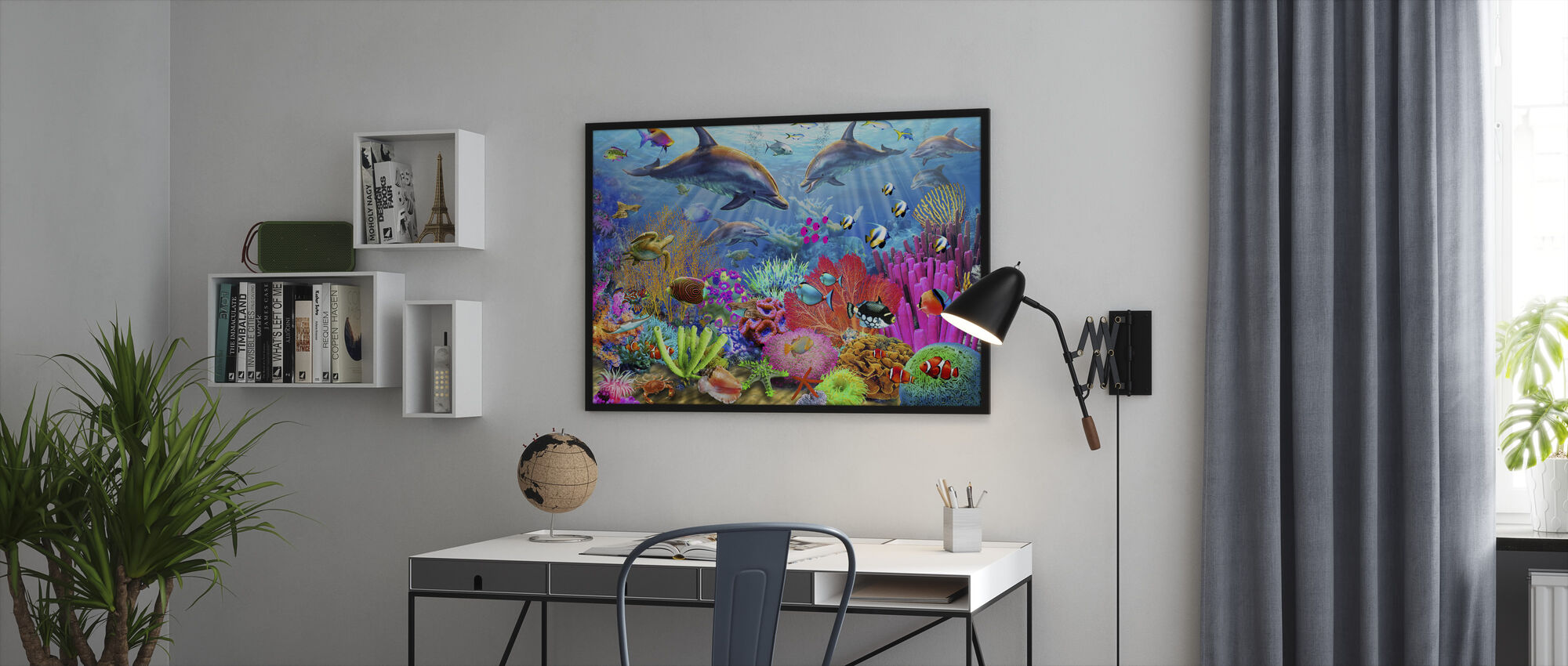 Dolphin Coral Reef - Framed print - Office