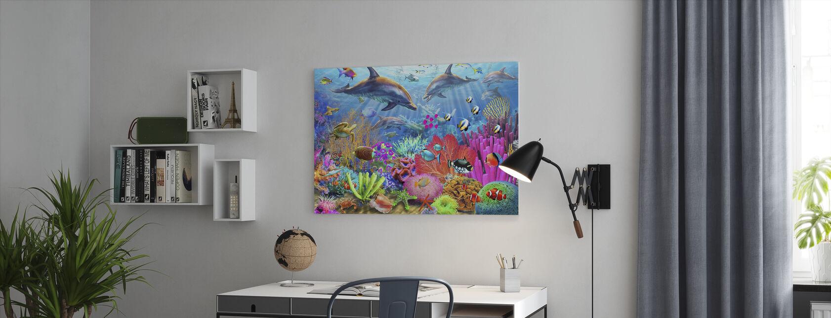Dolfijn Koraalrif - Canvas print - Kantoor