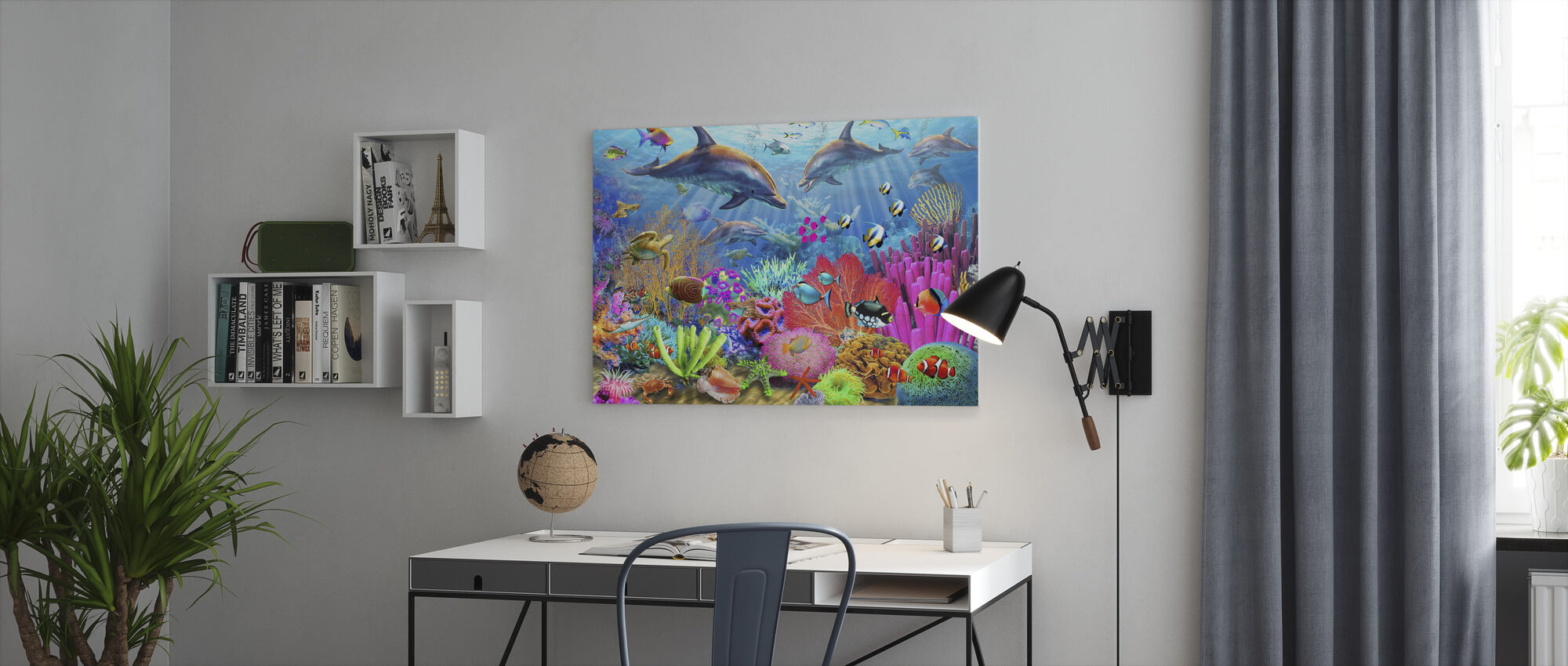 Dolphin Coral Reef - Canvas print - Office