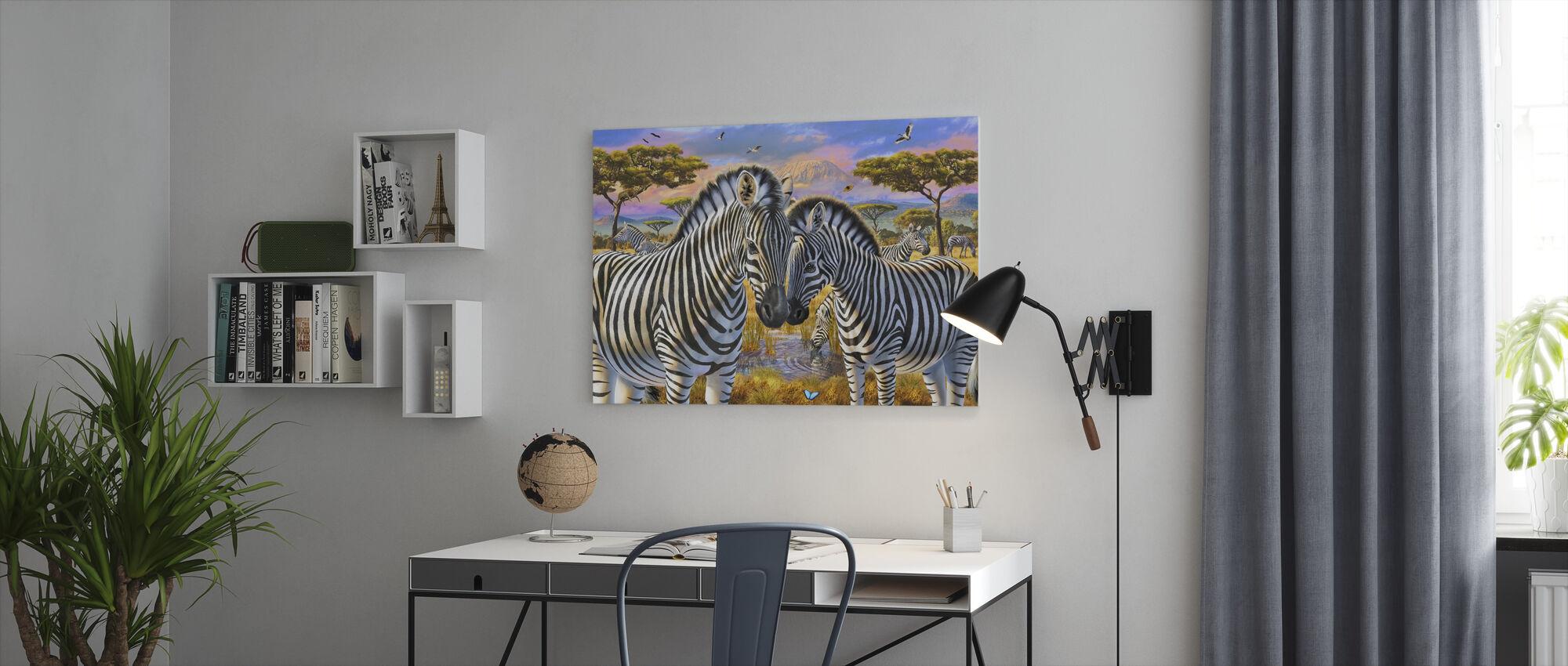 Loving Zebras - Canvas print - Office