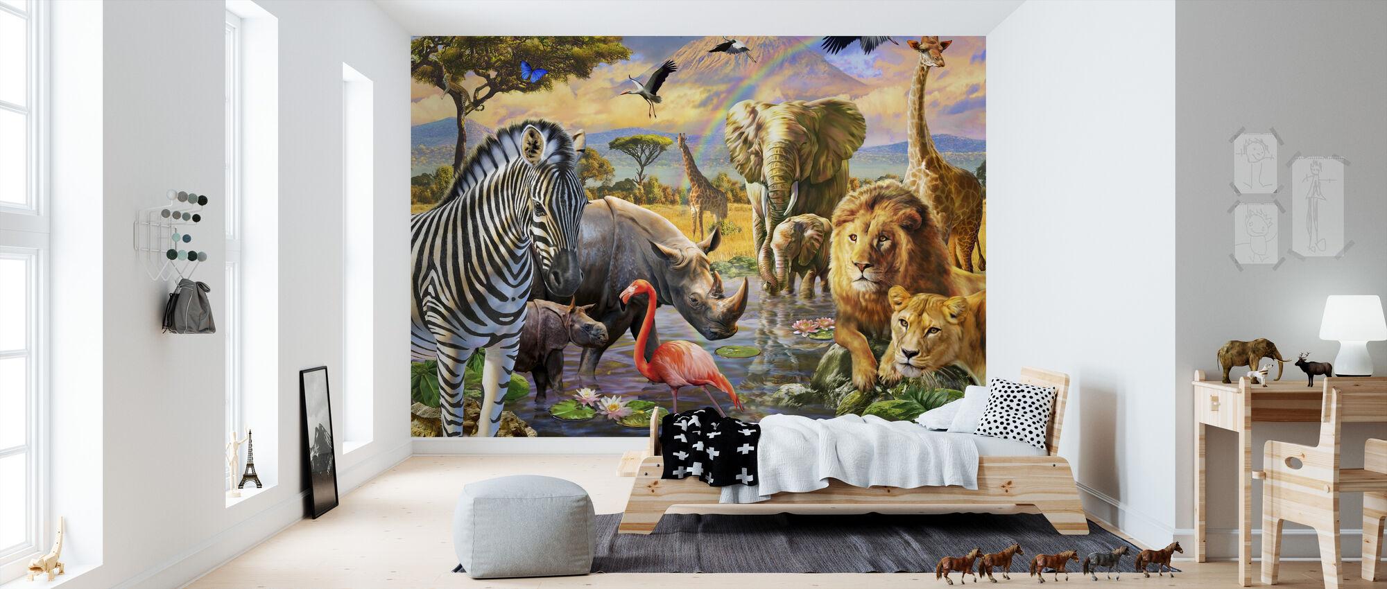 Savanna Watering Hole - Wallpaper - Kids Room