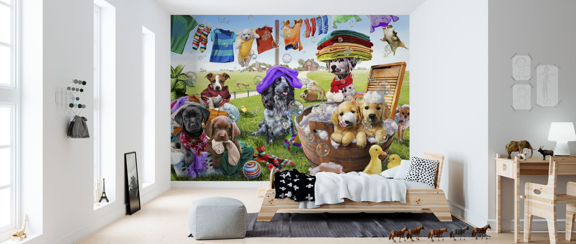 Puppies Playing - Wallpaper - Kids Room