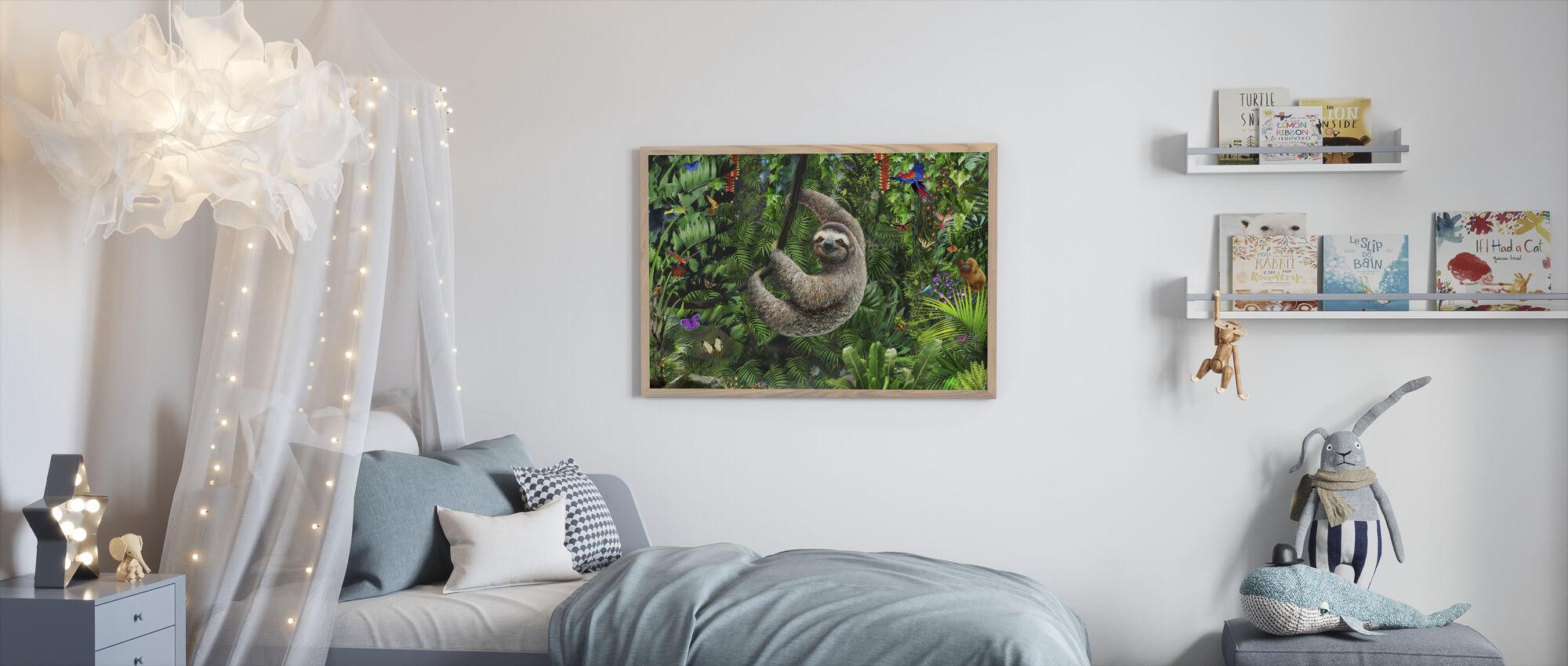 Sloath in Jungle - Ingelijste print - Kinderkamer