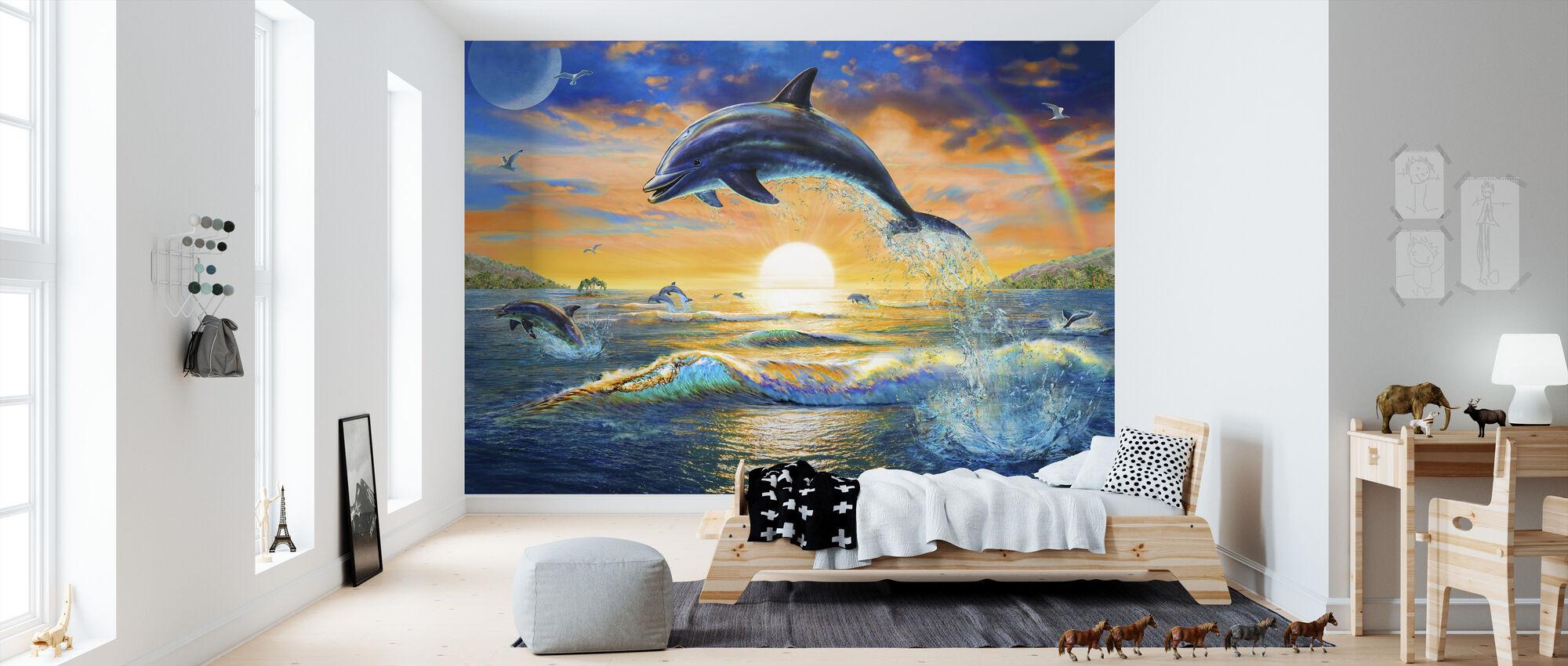 Dolphin Sunrise - Wallpaper - Kids Room