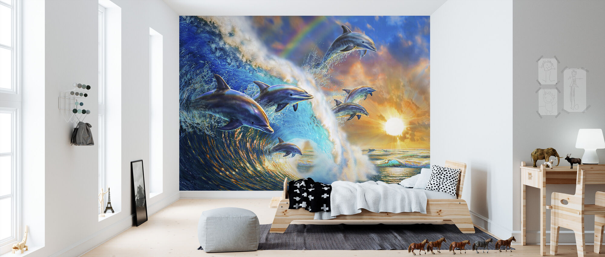 Dolphin Wave - Wallpaper - Kids Room