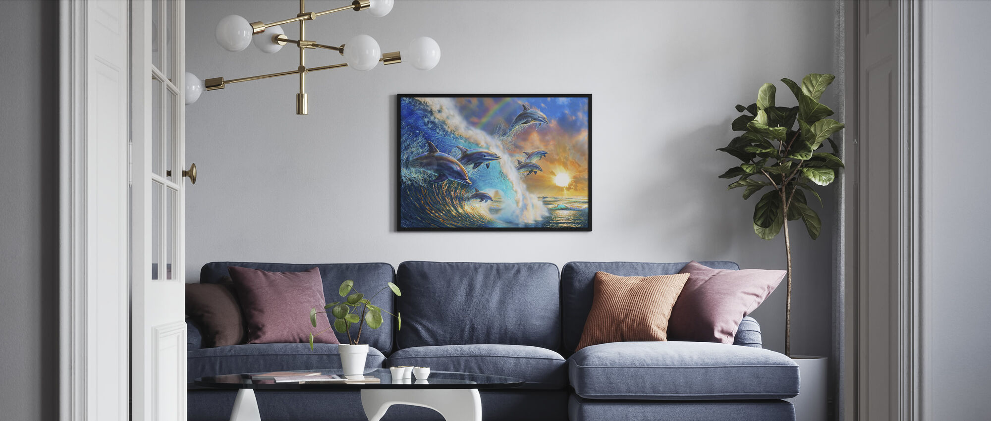 Dolphin Wave - Framed print - Living Room