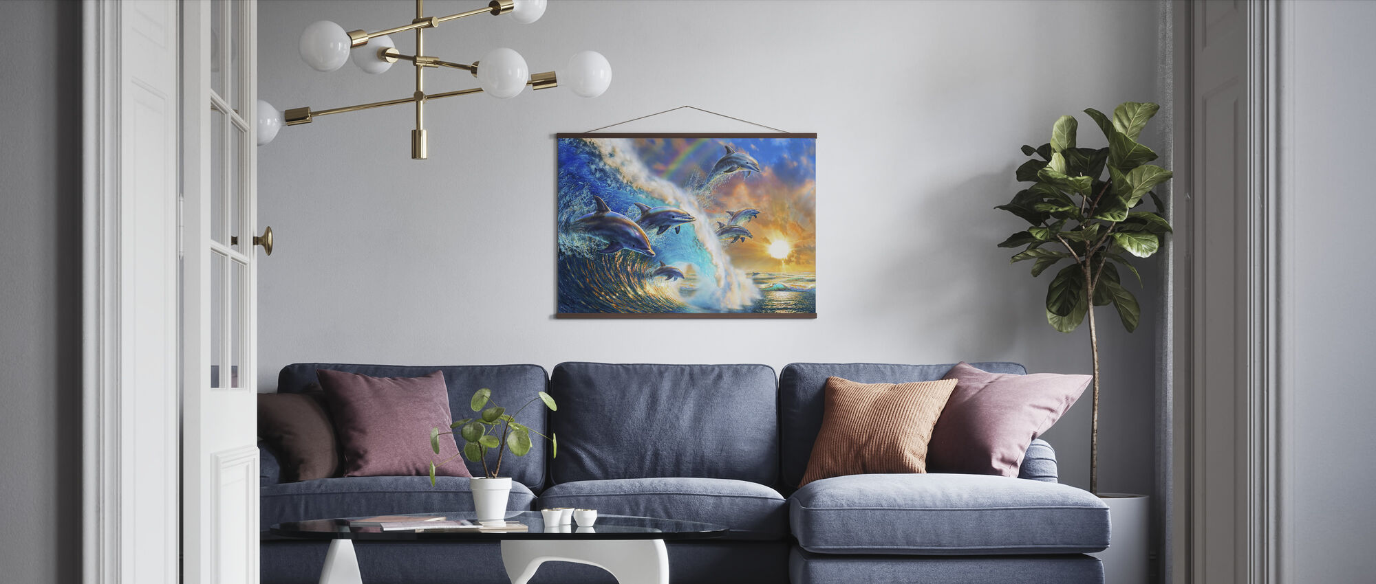 Dolphin Wave - Poster - Living Room