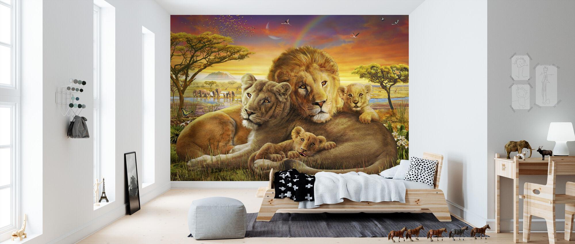 Liefdevolle leeuwen - Behang - Kinderkamer