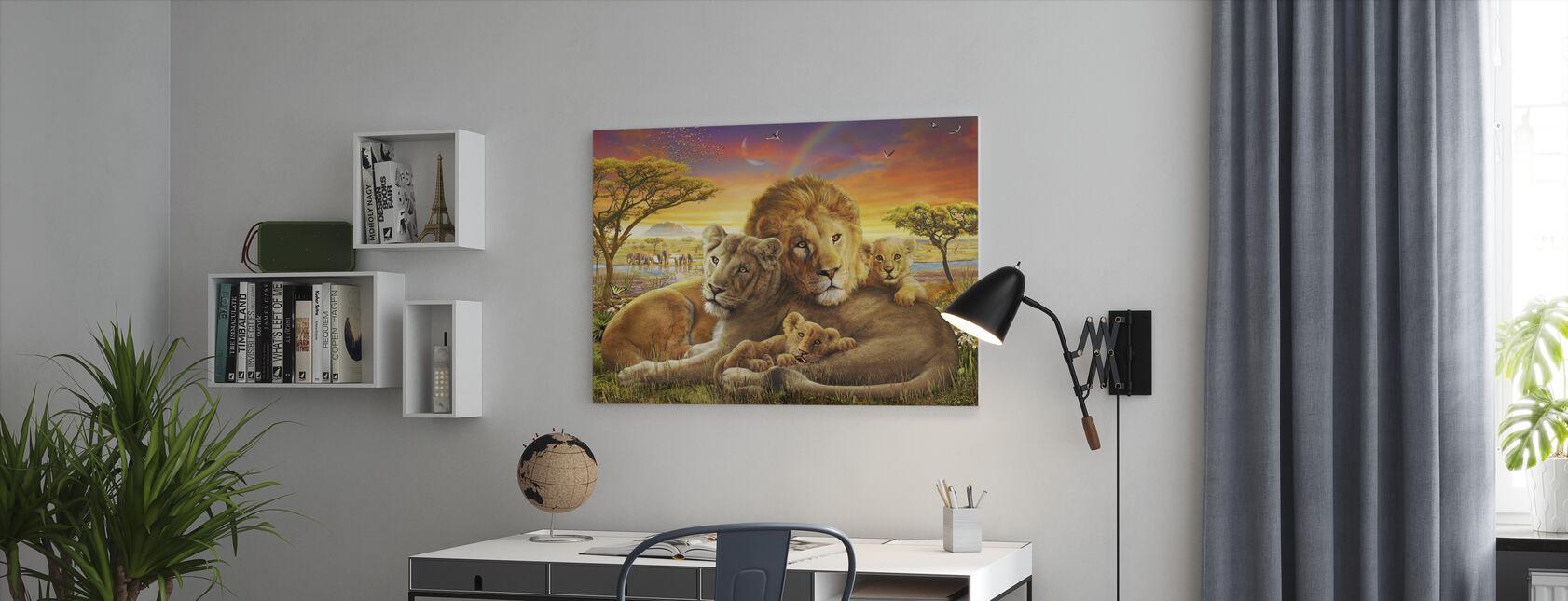 Kærlige Løver - Billede på lærred - Kontor