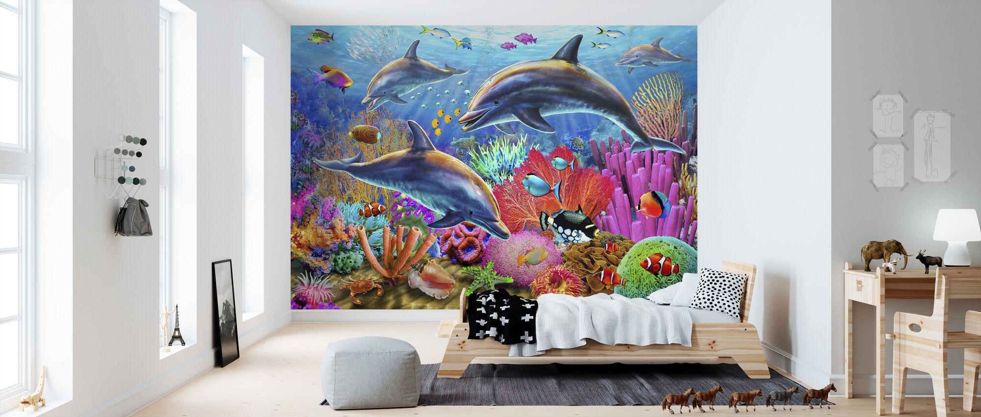 Dolphin Fun - Wallpaper - Kids Room