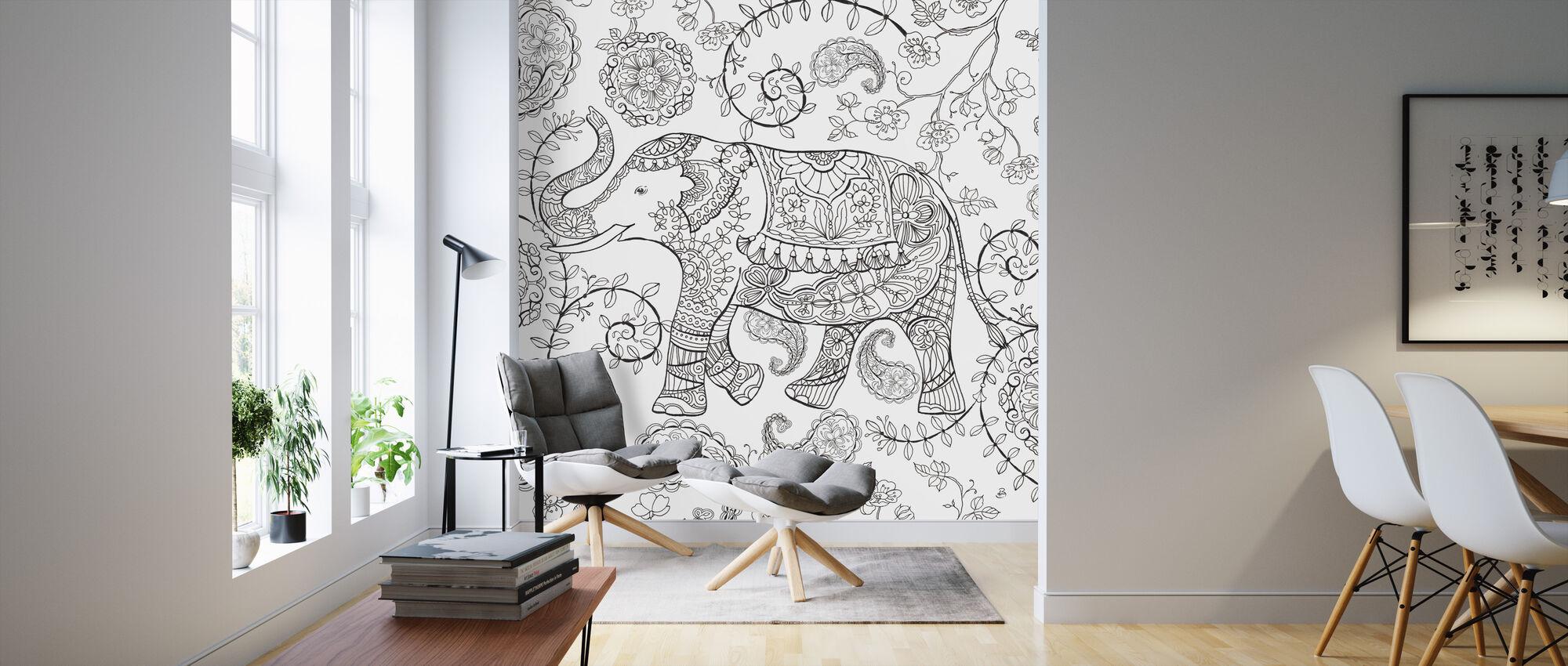 Kleur Mijn Wereld Olifant - Behang - Woonkamer