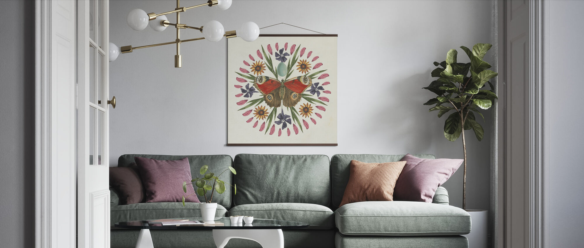 Vlinder Mandala - Poster - Woonkamer