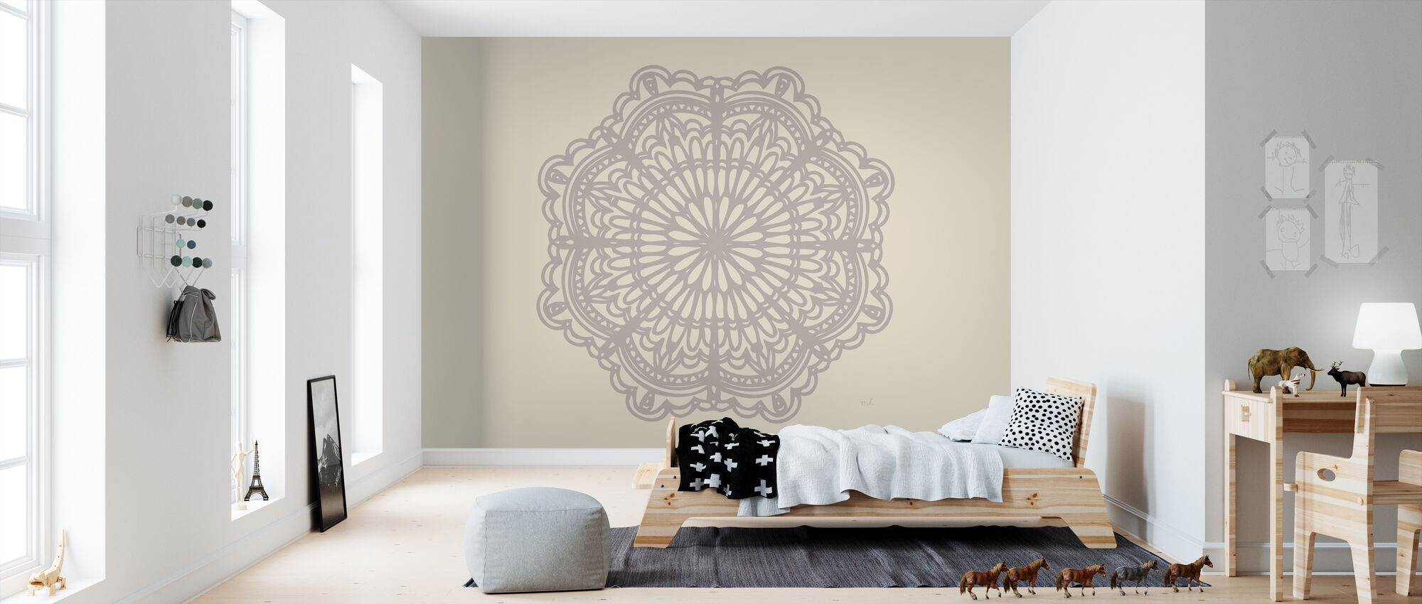 Contemporary Lace Neutral - Wallpaper - Kids Room