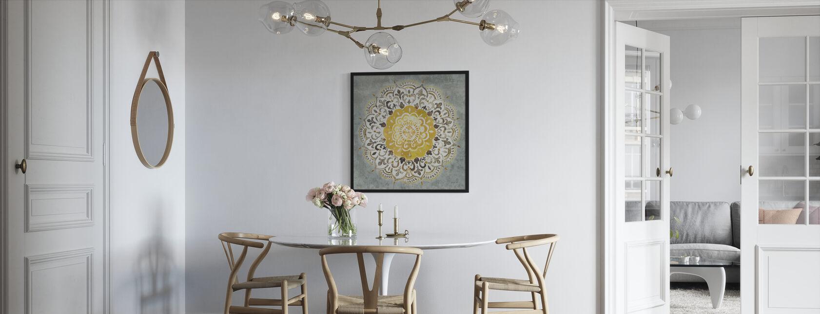 Mandala Delight - Yellow Grey - Print enmarcado - Cocina