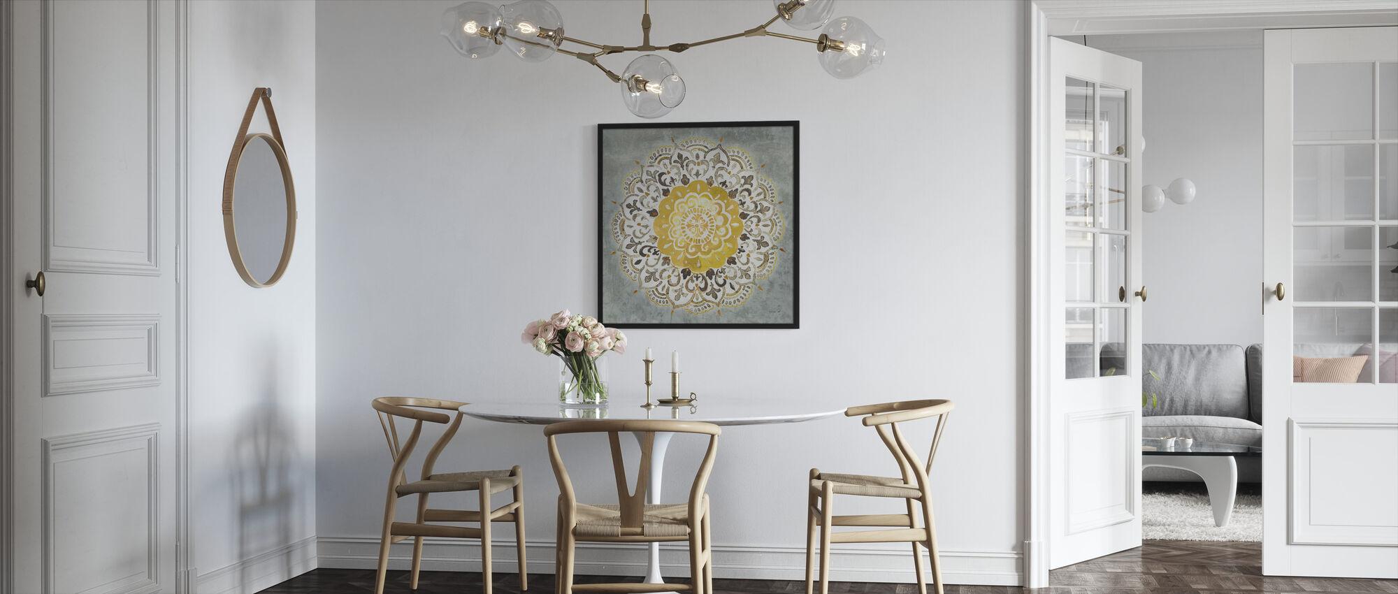 Mandala Delight - Geel Grijs - Ingelijste print - Keuken