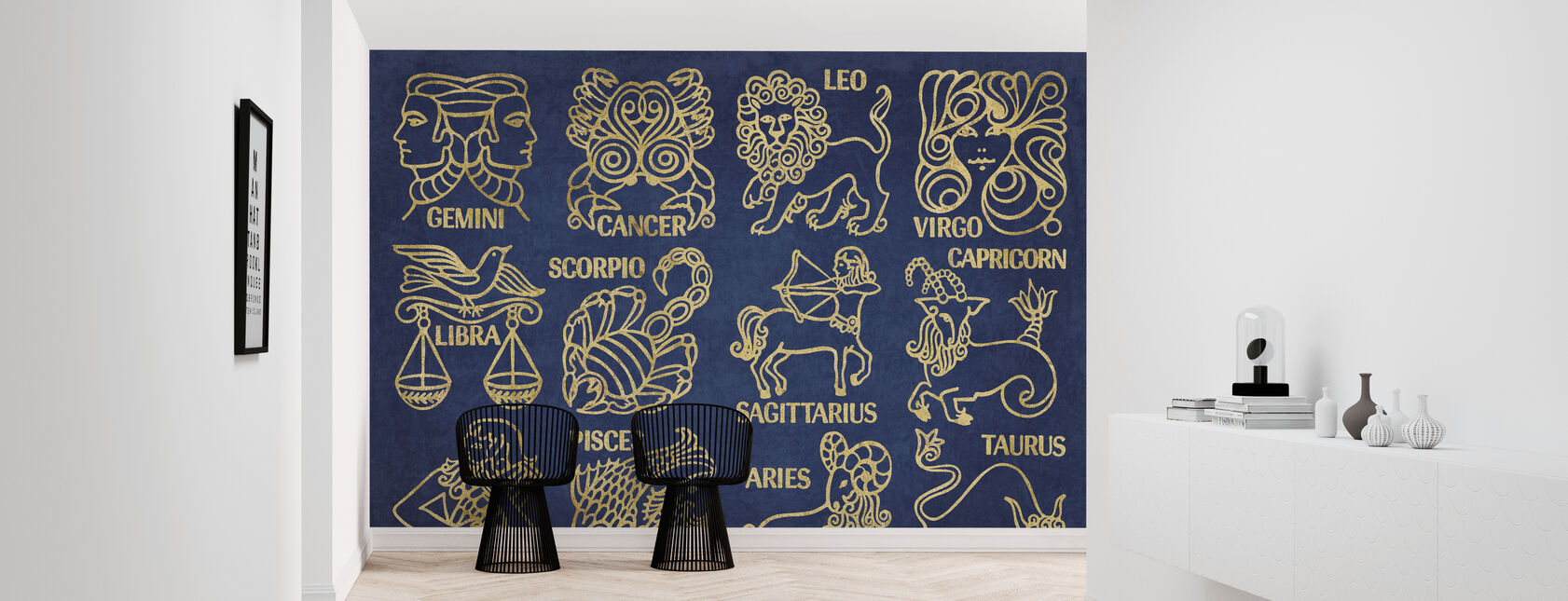 Whats Your Sign Blue Gold - Wallpaper - Hallway