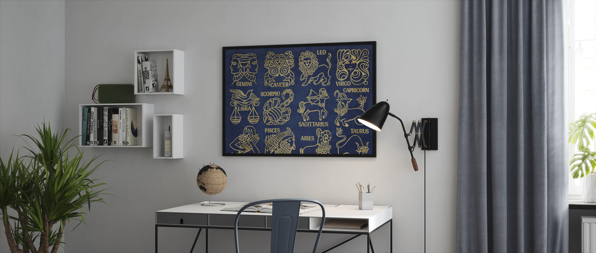 Whats Your Sign Blue Gold - Framed print - Office