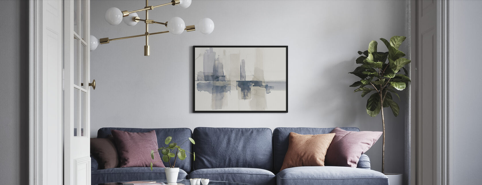 Improvisation II Navy - Framed print - Living Room
