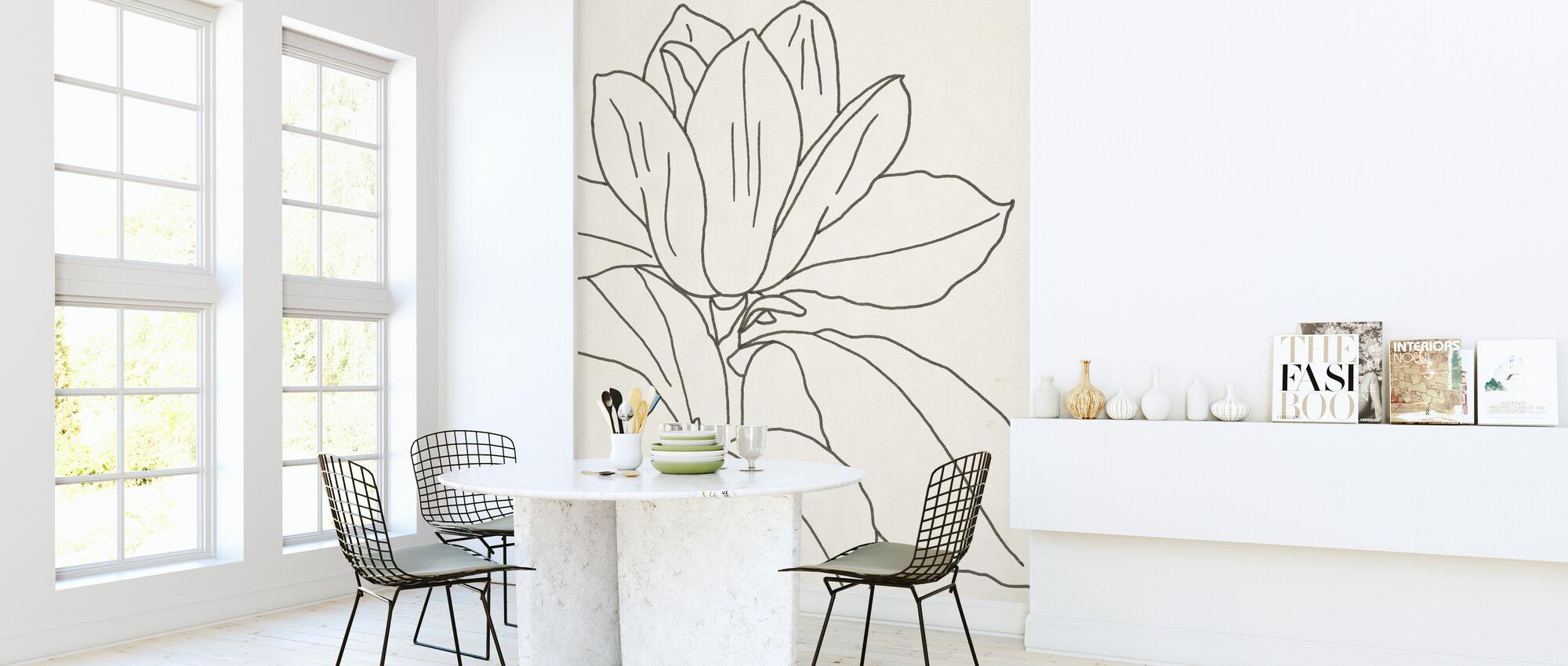 Magnolia Line Drawing II - Wallpaper - Kitchen