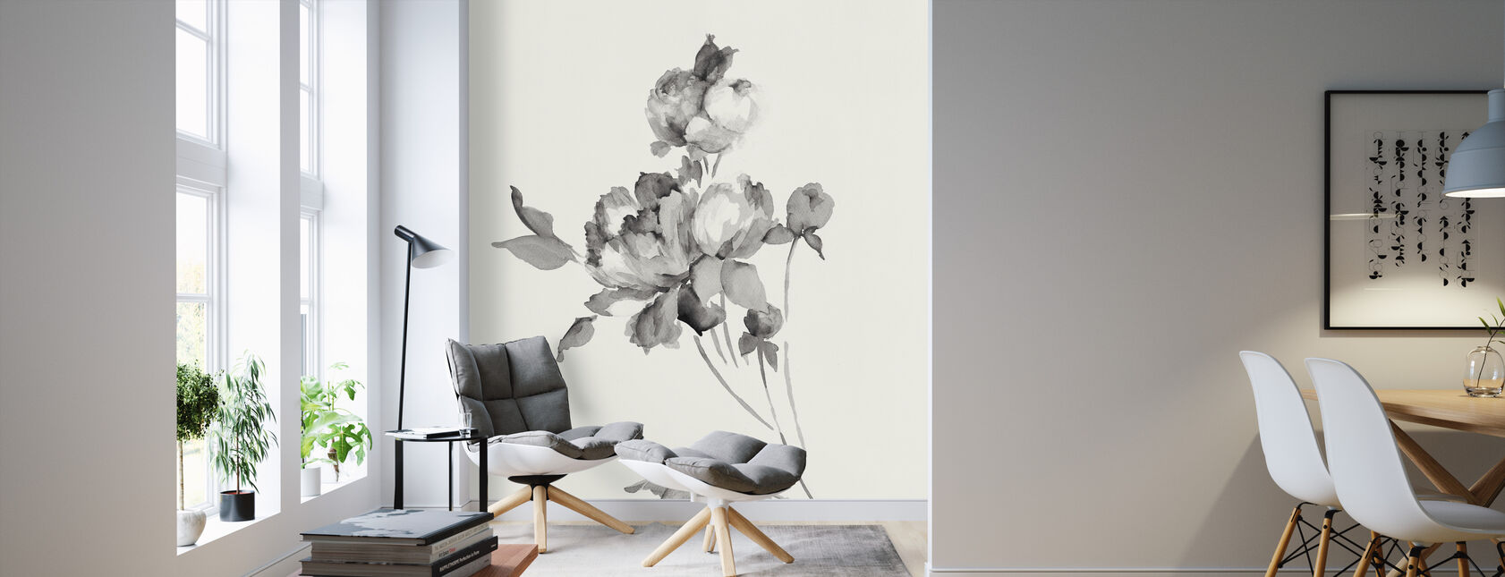 Peony Blossoms Gray - Wallpaper - Living Room