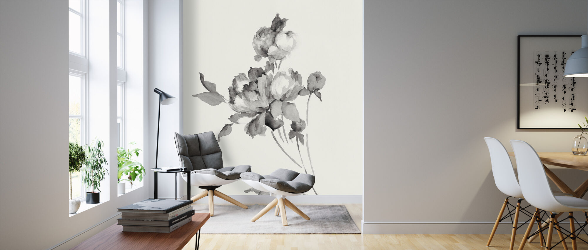 Peony Blossoms Gray - Wallpaper - Living Room