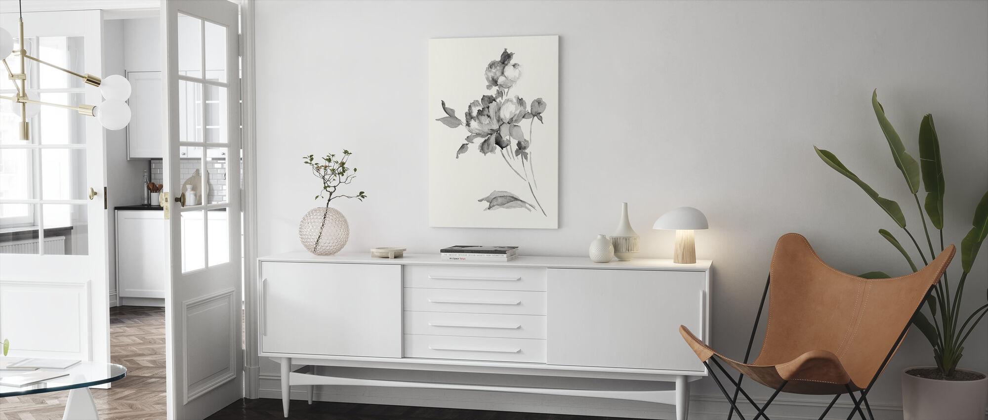 Pioenroos Bloesems Grijs - Canvas print - Woonkamer
