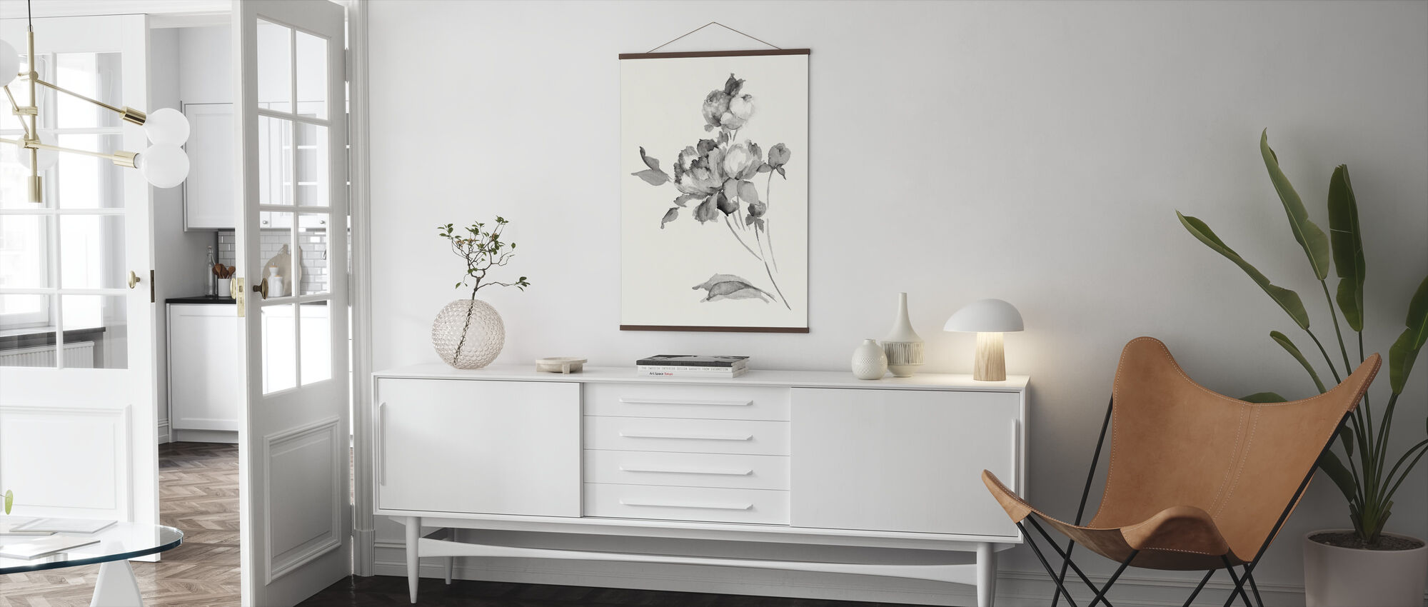 Peony Blossoms Gray - Poster - Living Room