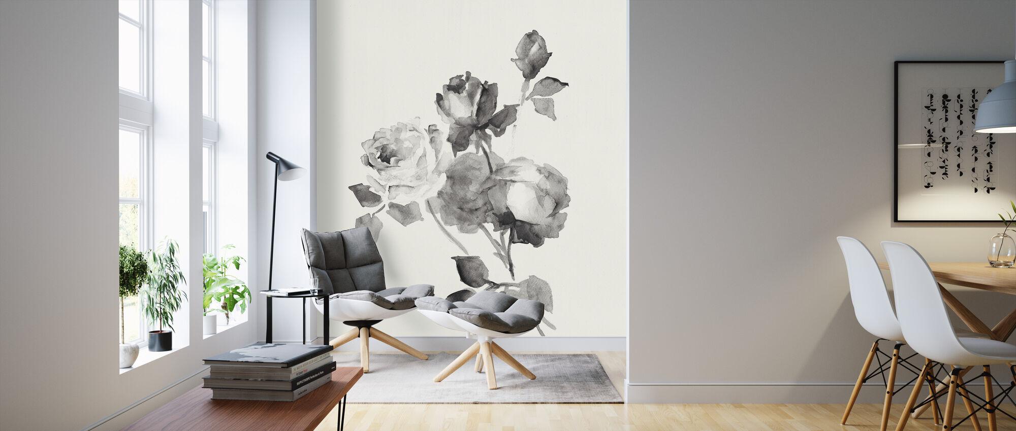 Rose Bloesems Grijs - Behang - Woonkamer