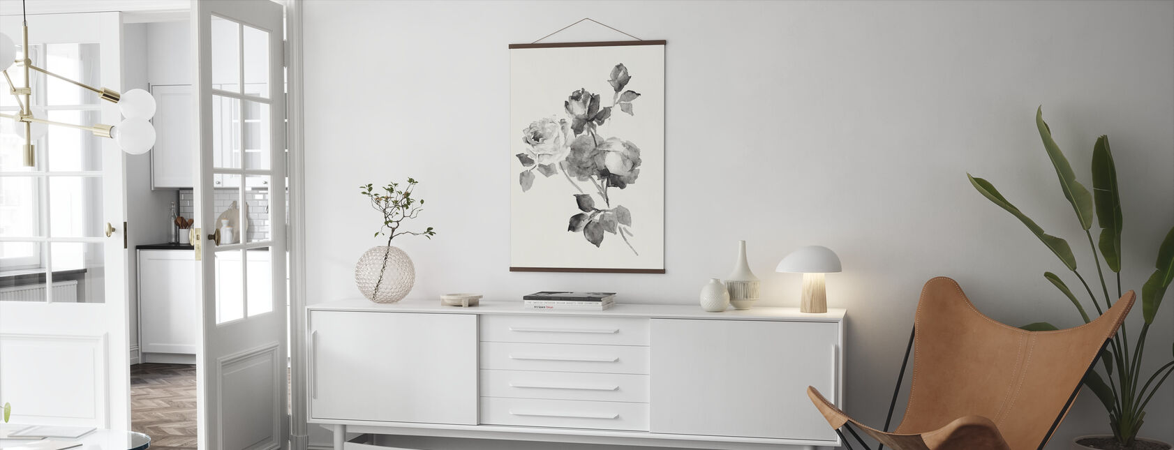 Rose Bloesems Grijs - Poster - Woonkamer