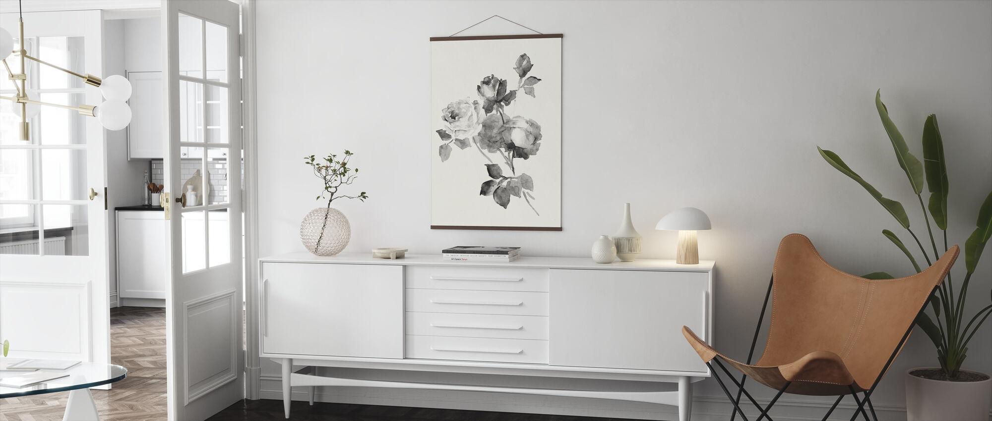 Rosenblüten Grau - Poster - Wohnzimmer