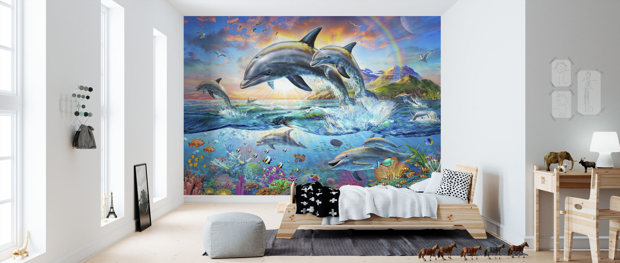 Dolphin Family - Wallpaper - Kids Room