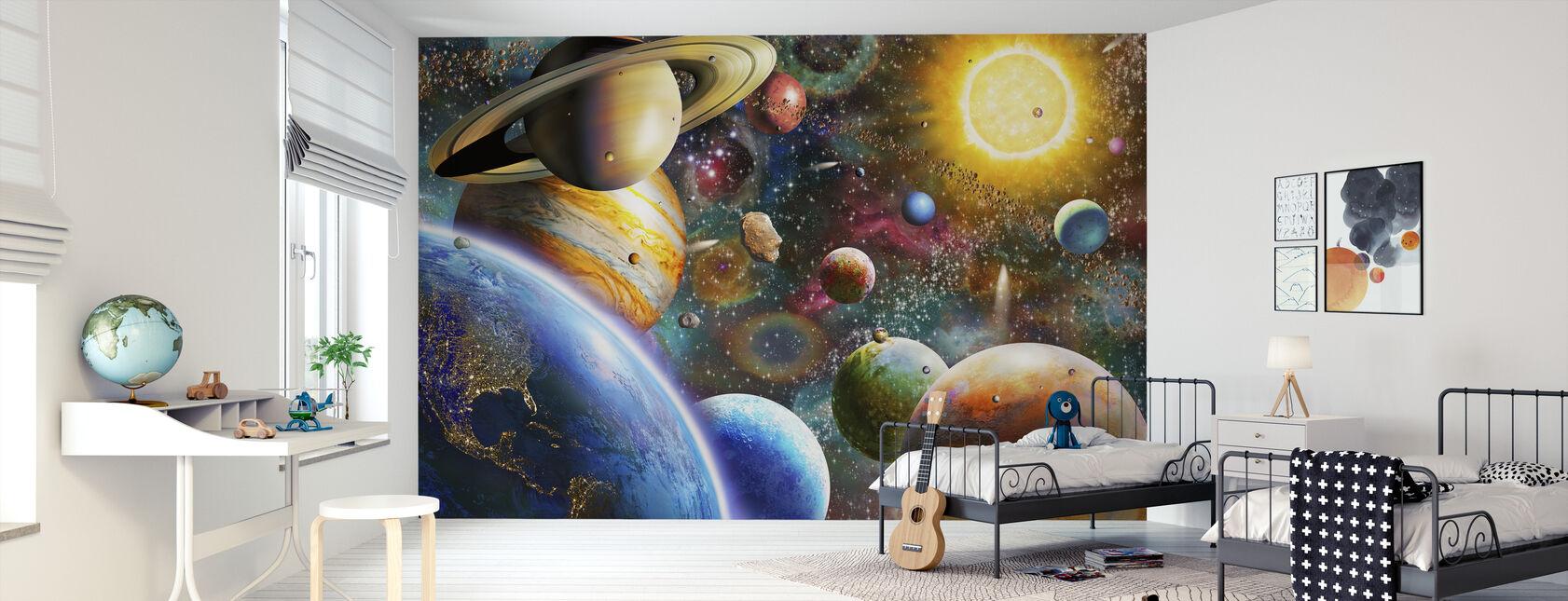 Planeetat avaruudessa - Tapetti - Lastenhuone