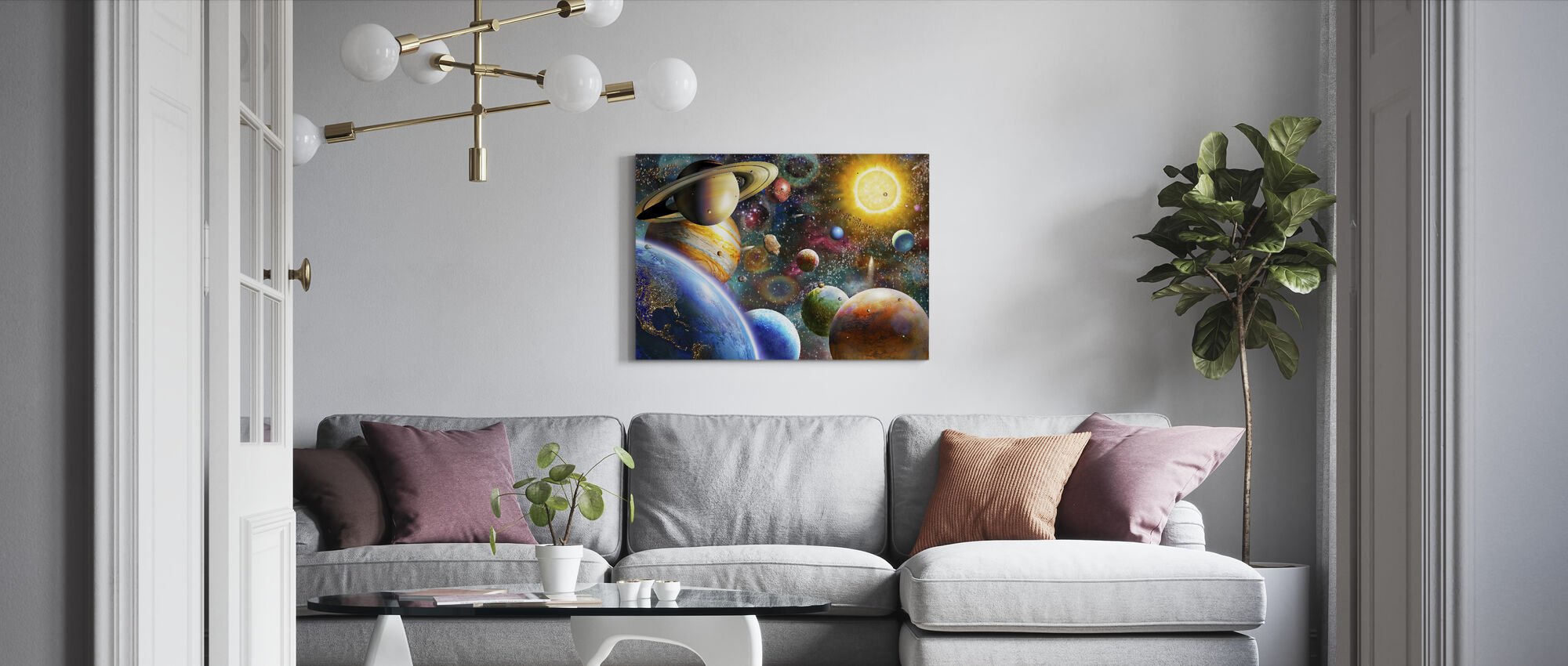 Planets in Space - Canvas print - Living Room