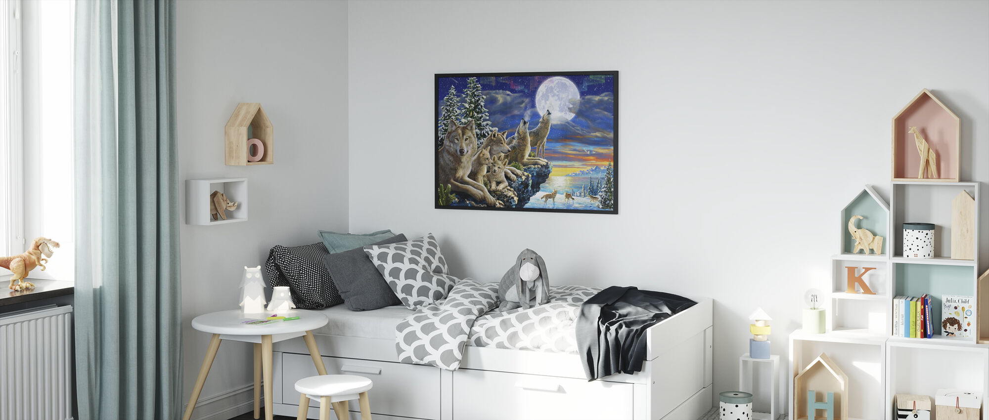 Wolfpoint Moon - Framed print - Kids Room