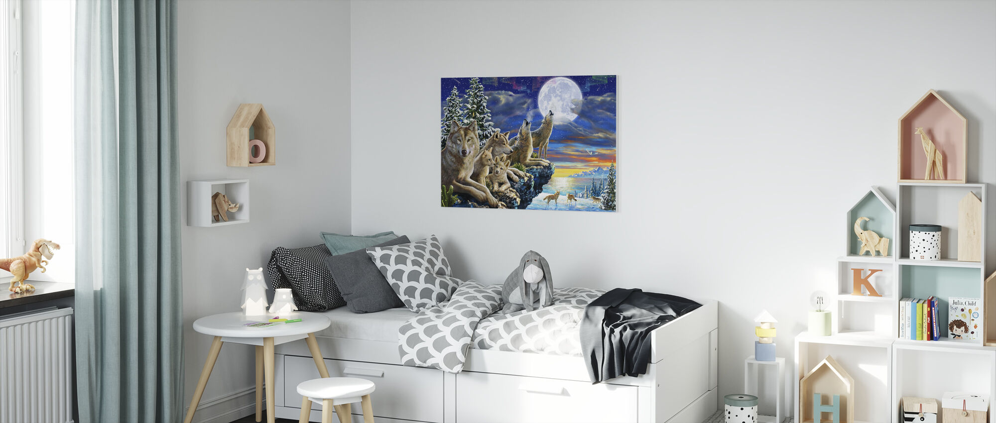 Wolfpoint Moon - Canvas print - Kids Room