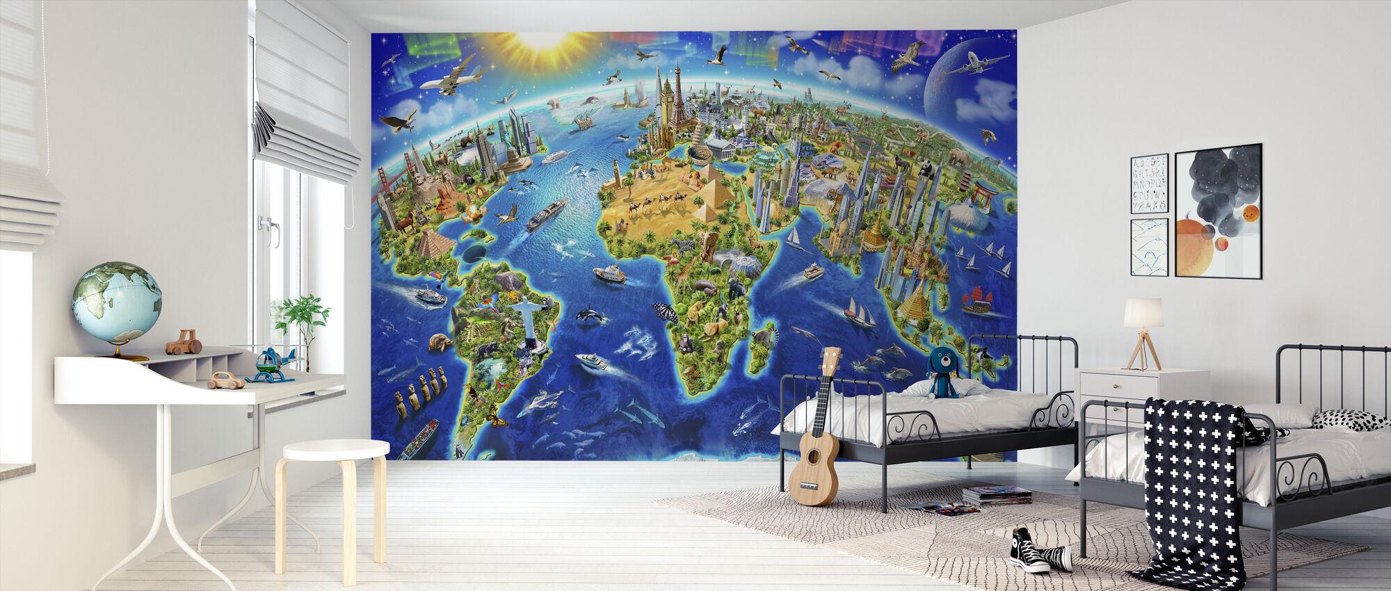 Wereldoriëntatiepunten Globe - Behang - Kinderkamer