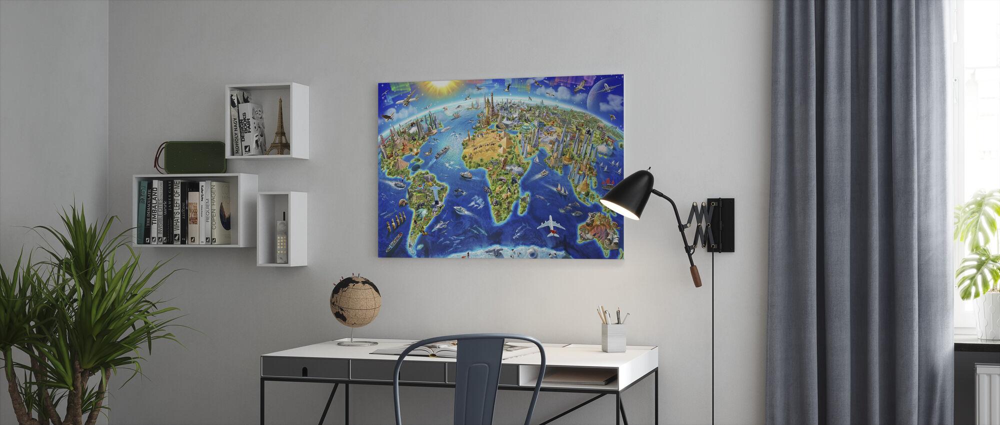 Maailman Maamerkit Globe - Canvastaulu - Toimisto